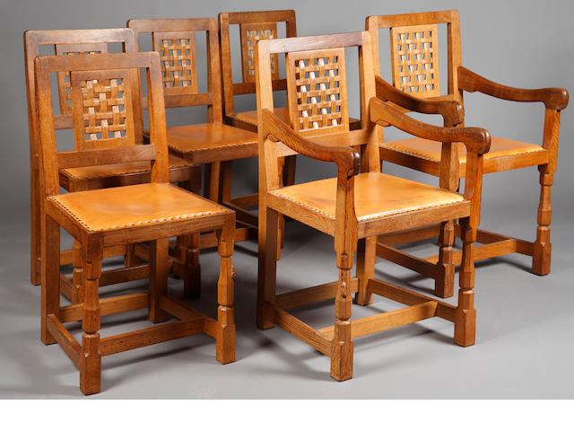 Robert Thompson of Kilburn oak dining chairs