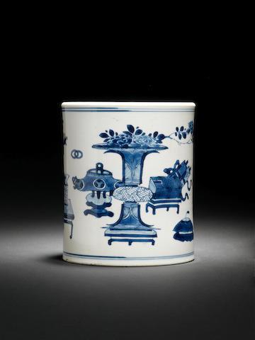 A blue and white 'Hundred Antiques' brushpot, bitong Kangxi