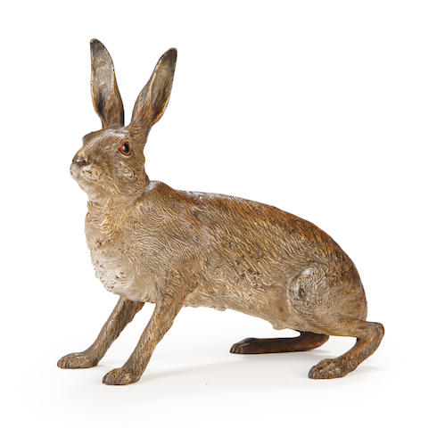 Franz BergmannA large Austrian cold painted figure of a hare