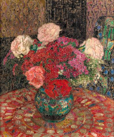 (n/a) Léon de Smet (Belgian, 1881-1966) Still life with flowers in a pot