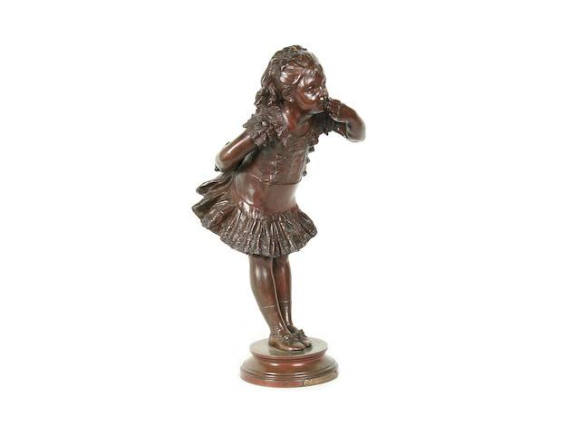 Adrien Etienne Gaudez (French, 1845-1902): A bronze model of a girl 'Jour de Fete'