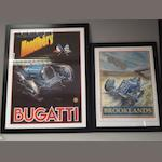 Two posters depicting pre war racing cars after Phil May,