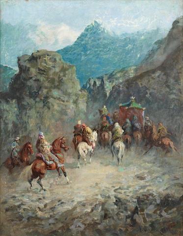 Alberto Pasini (Italian, 1826-1899) The caravan