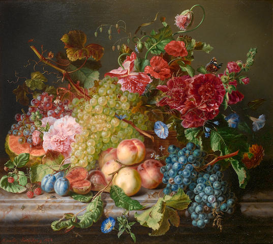 Amalie Kaercher (German, D.1871) Still life with fruit and flowers on a ledge