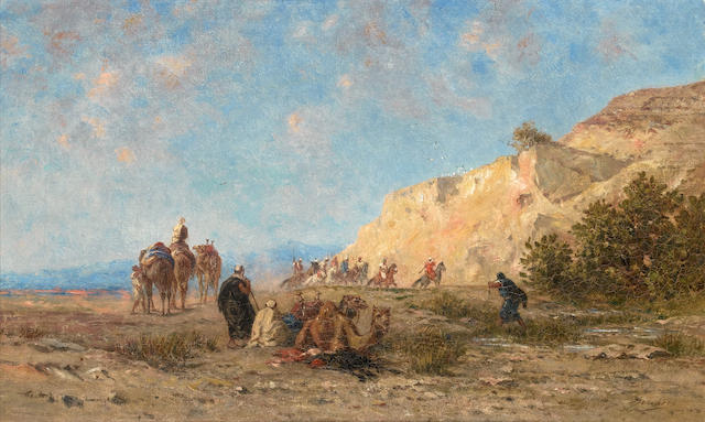 Narcisse Berchere (French, 1819-1891) A halt in the desert