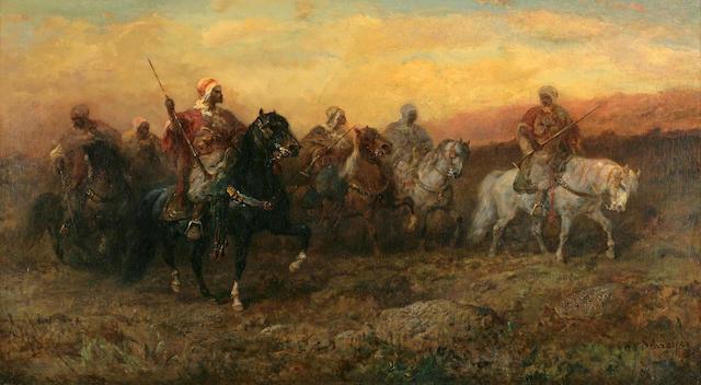 Adolf Schreyer (German, 1828-1899) Bedouin riders