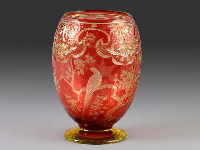 A glass vase,
