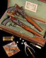 A Very fine Cased Pair Of 32-Bore Saw-Handled Flintlock Duelling Pistols
