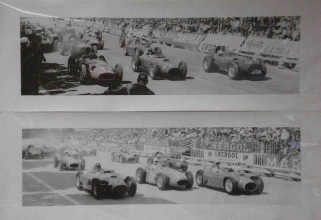A pair of panoramic photoprints of 1950s Monaco Grand Prix startline scenes,