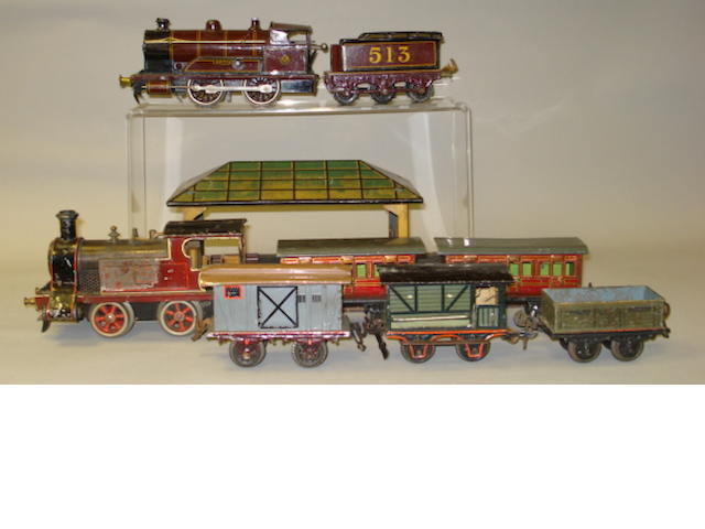 Bing locomotives, rolling stock and station platforms lot
