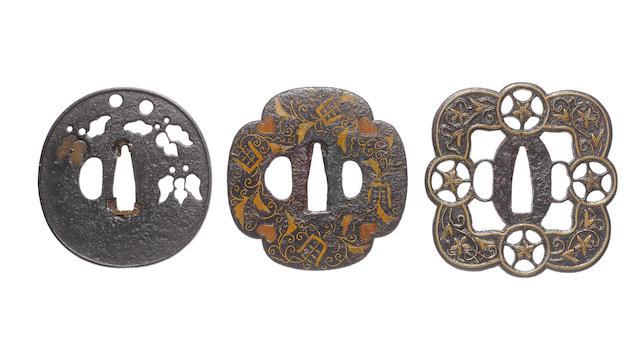 Three iron tsuba Late Muromachi to early Edo Period, 16th to 17th century