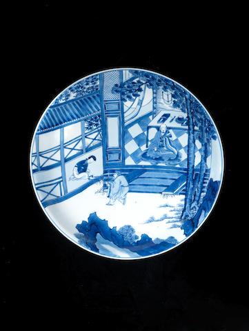 A blue and white dish Kangxi