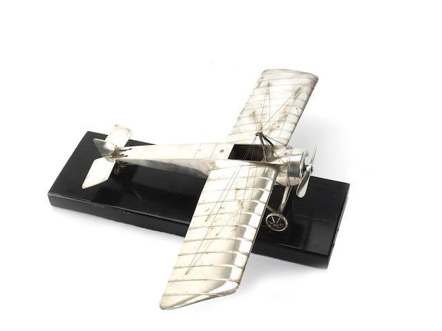 A fine silver model of a Morane-Saulnier type H monoplane, 1915,