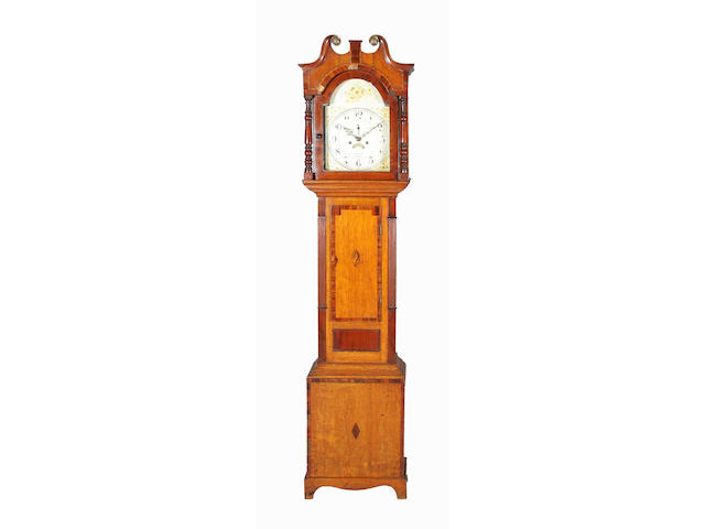 A 19th century oak, mahogany, crossbanded and inlaid longcase clock