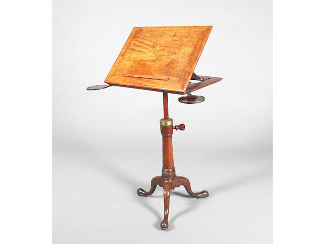 A good George II/III mahogany adjustable tripod reading stand, attributed to Gillow, of good colour