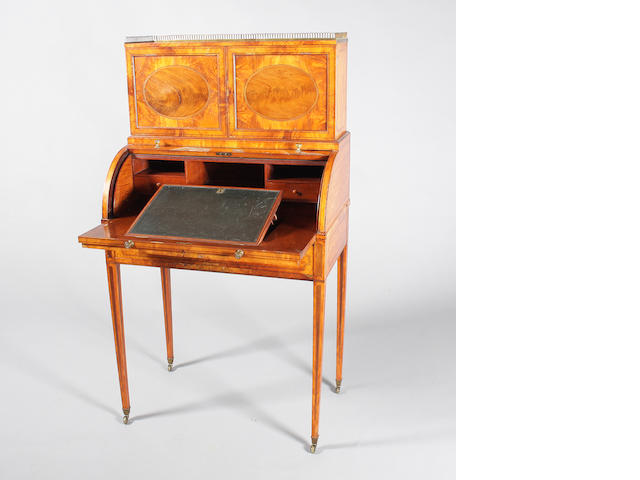 Late 19th c Sheraton style satinwood & mah writing bureau