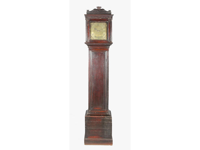 A late 18th century oak longcase clock
