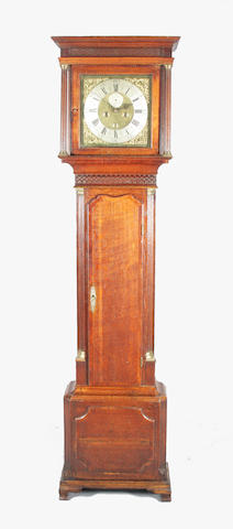 Geo II oak & mah longcase clock