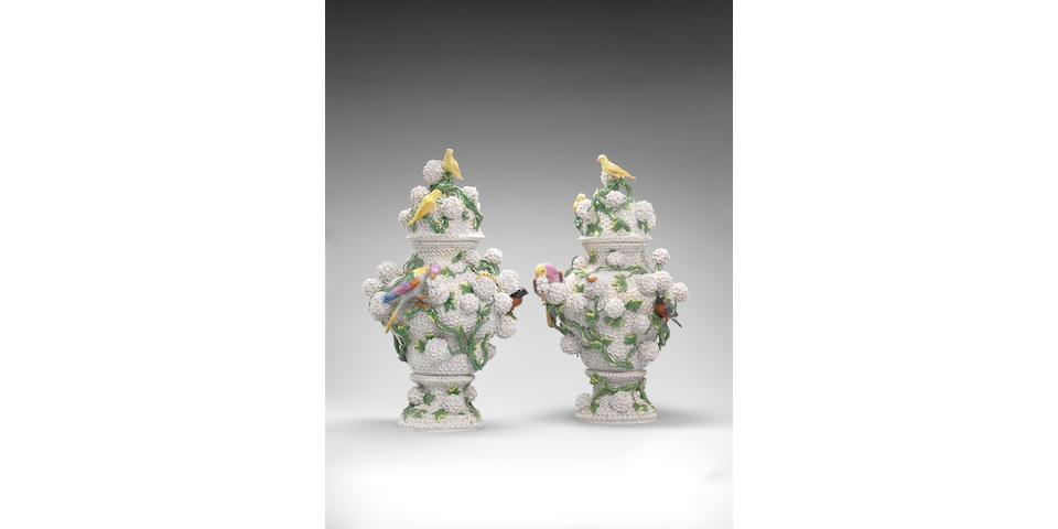 A very large pair of Meissen 'Schneeballen' vases and covers Circa 1860-70.