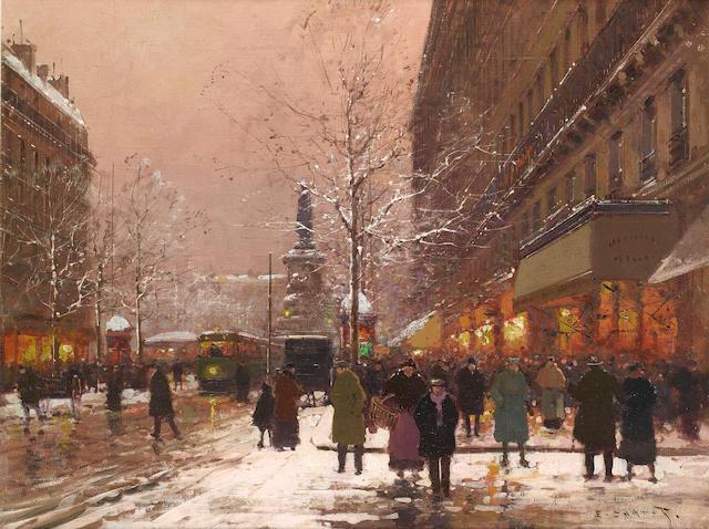 Edouard Léon Cortès (French, 1882-1969) Les grands boulevards vers la place de la Republique, Paris