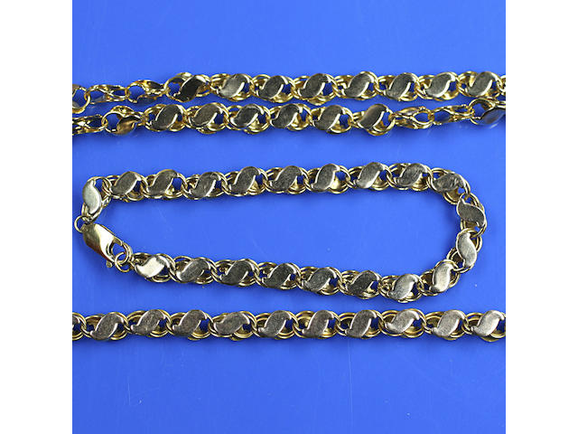 A chain necklace and braclet,