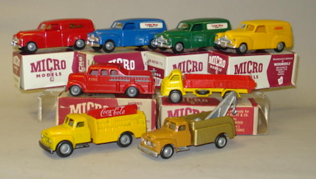 Micro Models Fire engine and Commercials 8