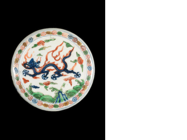 An extremely rare wucai box and cover (glaze crack and minor wear to enamels) Wanli mark and of the