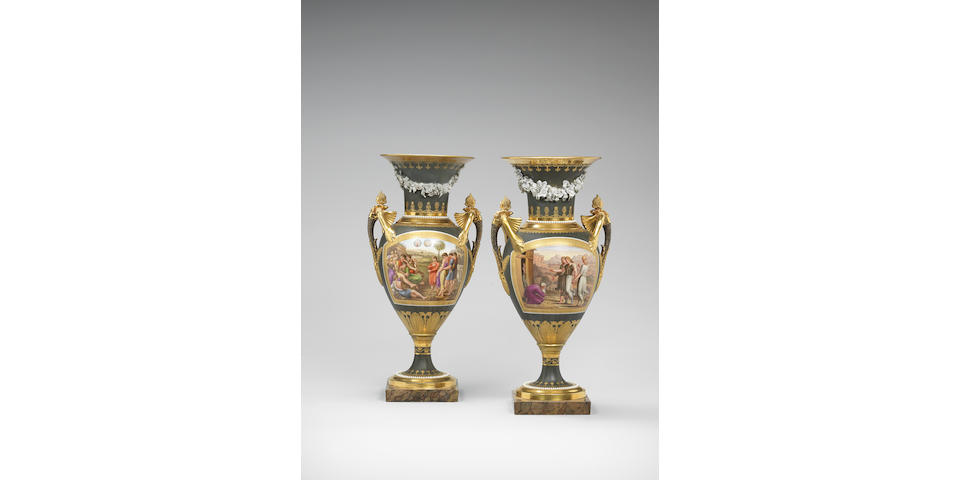 An important pair of Ludwigsburg vases Circa 1812-13.