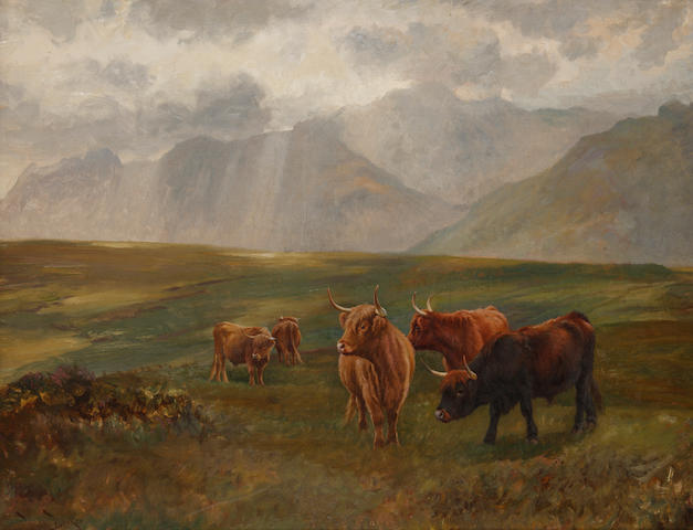 Wright Barker (British, 1863-1941) Highland cattle in a landscape