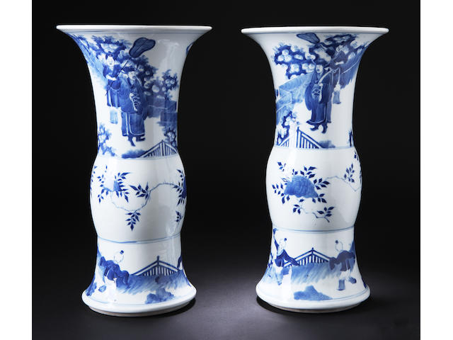 A pair of blue and white vases 19th century