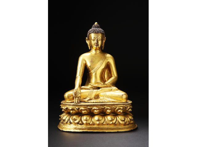 A gilt on copper figure of Sakyamuni Buddha 16th/17th century