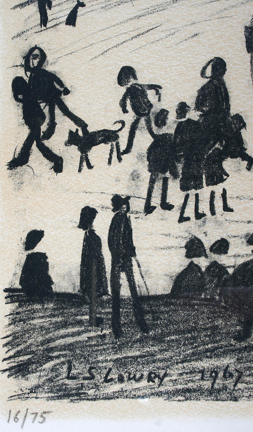 """Laurence Stephen Lowry, R.A. (British, 1887-1976) """"A Hillside"""", signed and numbered 16/75, lithograph, 49 x 61.5 cm,"""
