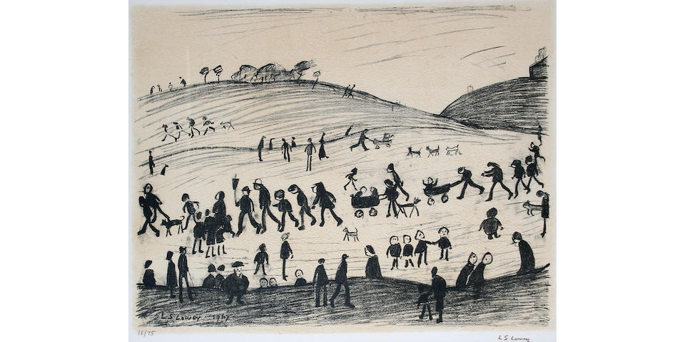 "Laurence Stephen Lowry, R.A. (British, 1887-1976) ""A Hillside"", signed and numbered 16/75, lithograph, 49 x 61.5 cm,"