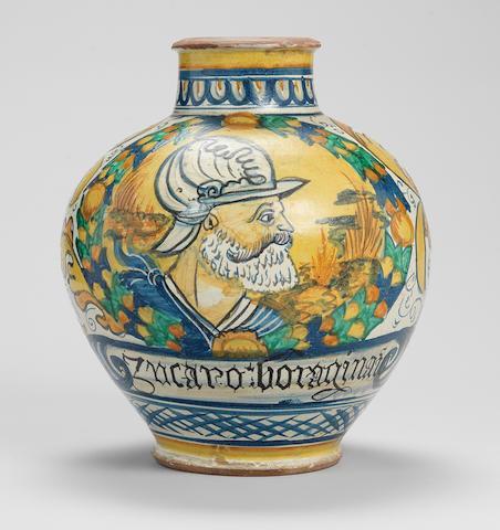 An Italian maiolica drug jar
