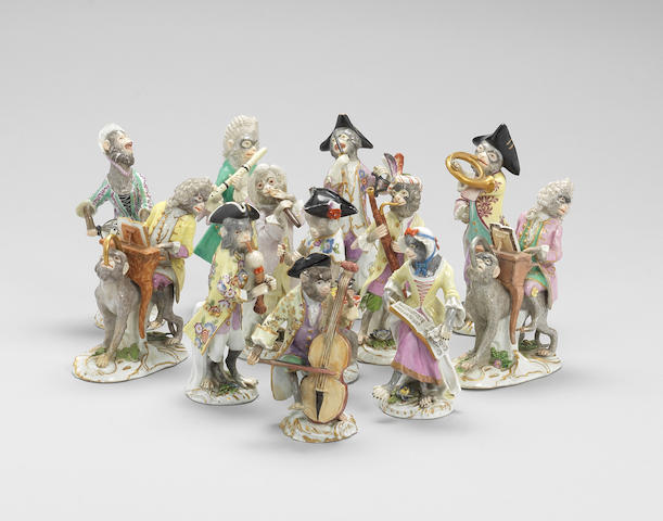 A group of twelve Meissen monkey band figures Second half 18th century.