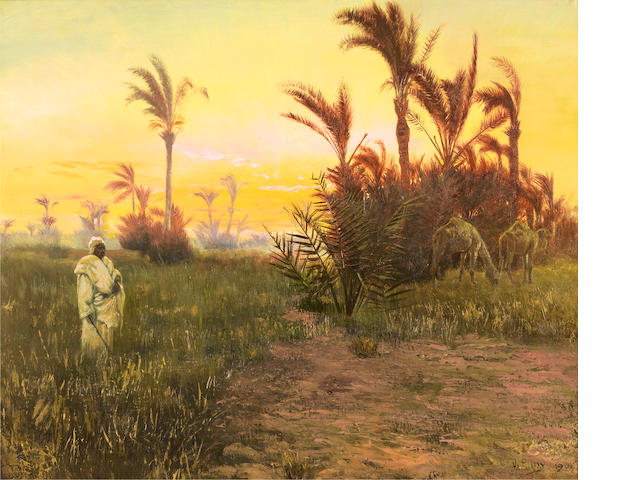 Otto Pilny (Swiss, 1866-1936) In the oasis at sunset