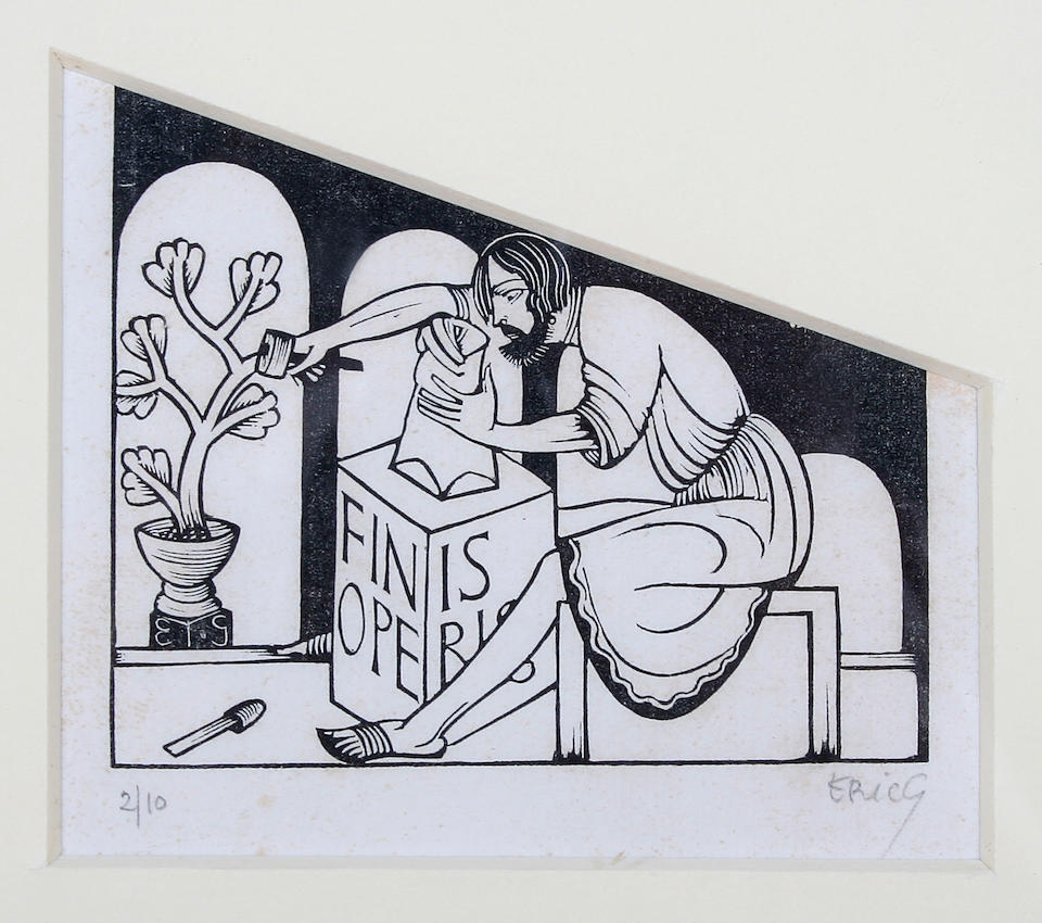 Eric Gill (British, 1882-1940) A stonemason at work, together with another of an actress holding a mask and flower,