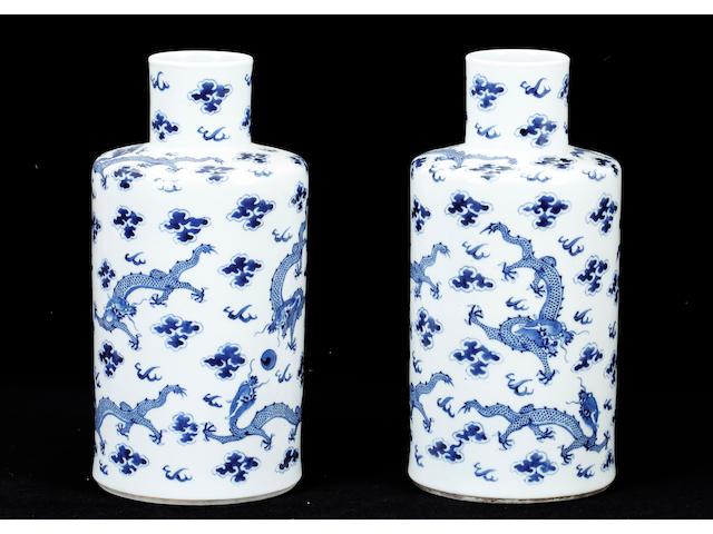 A pair of Chinese blue and white cylindrical vases,