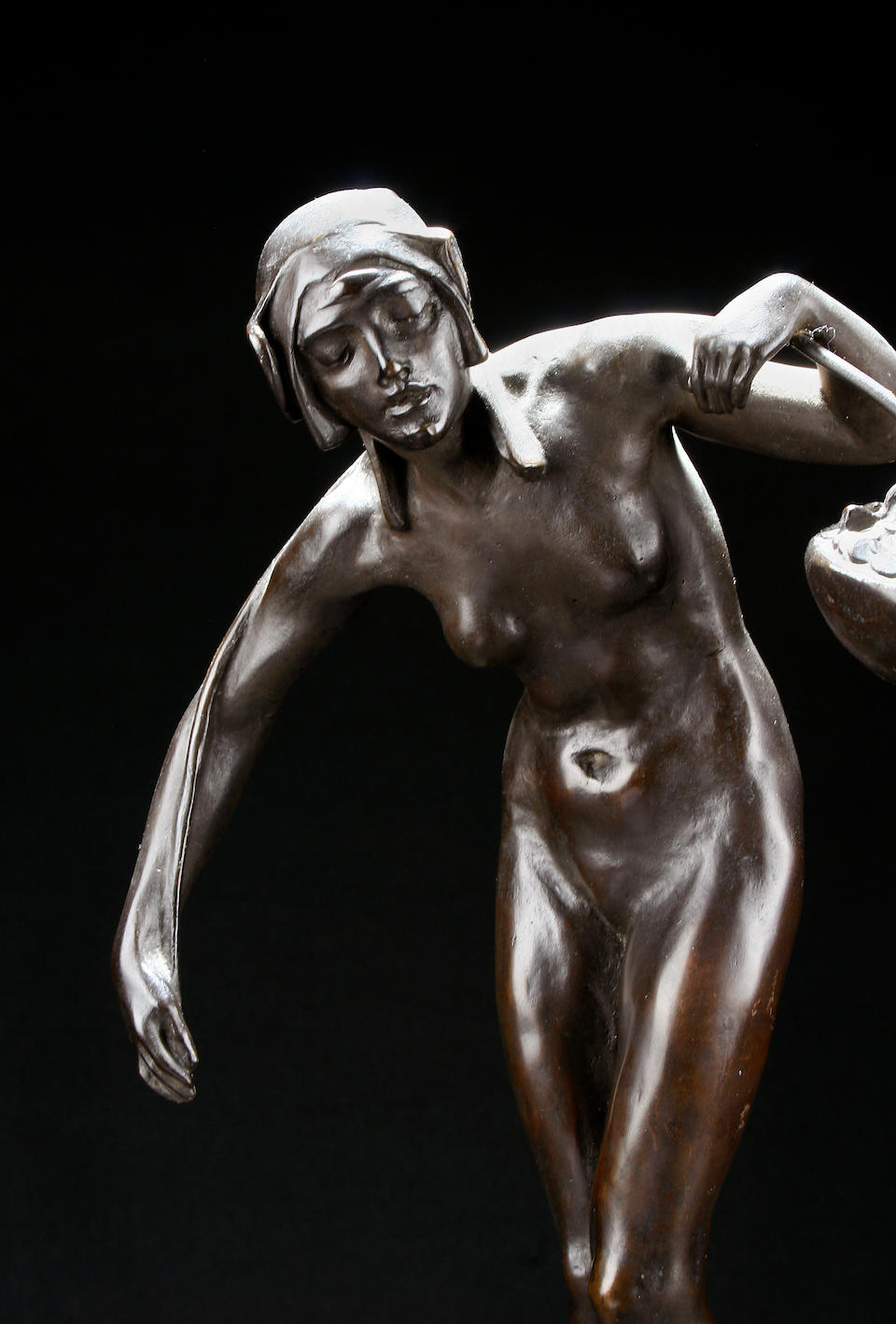 Gilbert Bayes: A bronze statue entitled The Scales of Time dated 1908