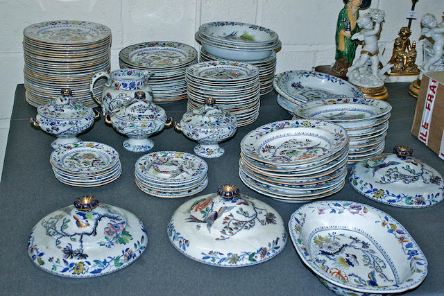 A quantity of 19th Century blue and white printed dinnerwares by Masons and Davenport, circa 1830 - 1850