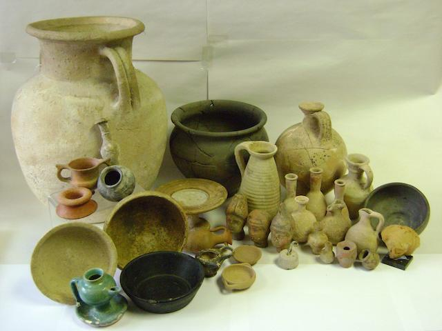 A large group of miscellaneous pottery vessels and other items a lot