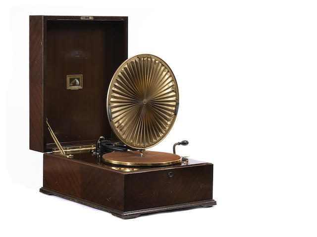 An HMV model 460 Luminere table-grand gramophone, 1924,