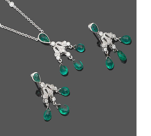 An emerald and diamond necklace and earring suite (2) (partially illustrated)