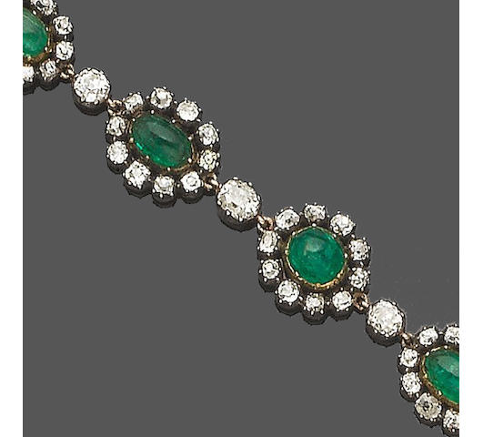 A 19th century emerald and diamond bracelet