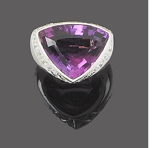 An amethyst and diamond dress ring, by Stephen Webster