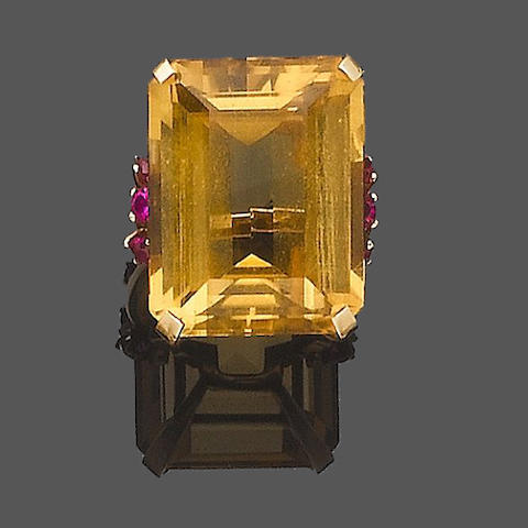 A citrine and synthetic ruby dress ring,