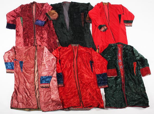 A group of six velvet Turkish jackets