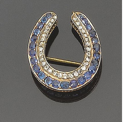 Diamond and sapphire crescent brooch