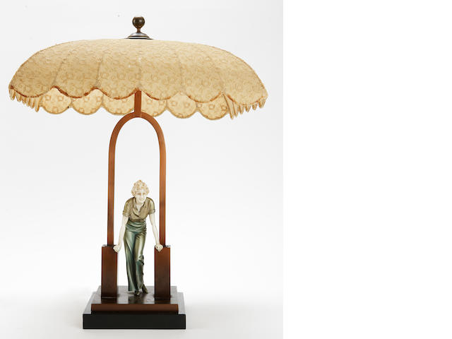Johann Philipp Ferdinand (Fritz) Preiss German, 1882-1943, A cold painted bronze and ivory figural table lamp,