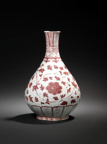 A rare underglaze copper-red vase, yuhuchunping Hongwu
